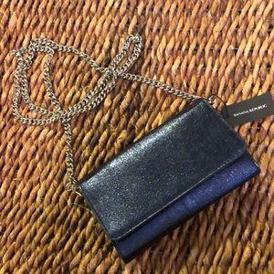 Banana Republic blue glitter crossbody/wallet